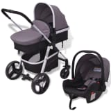 vidaXL 3-in-1 Pushchair Aluminium Grey and Black