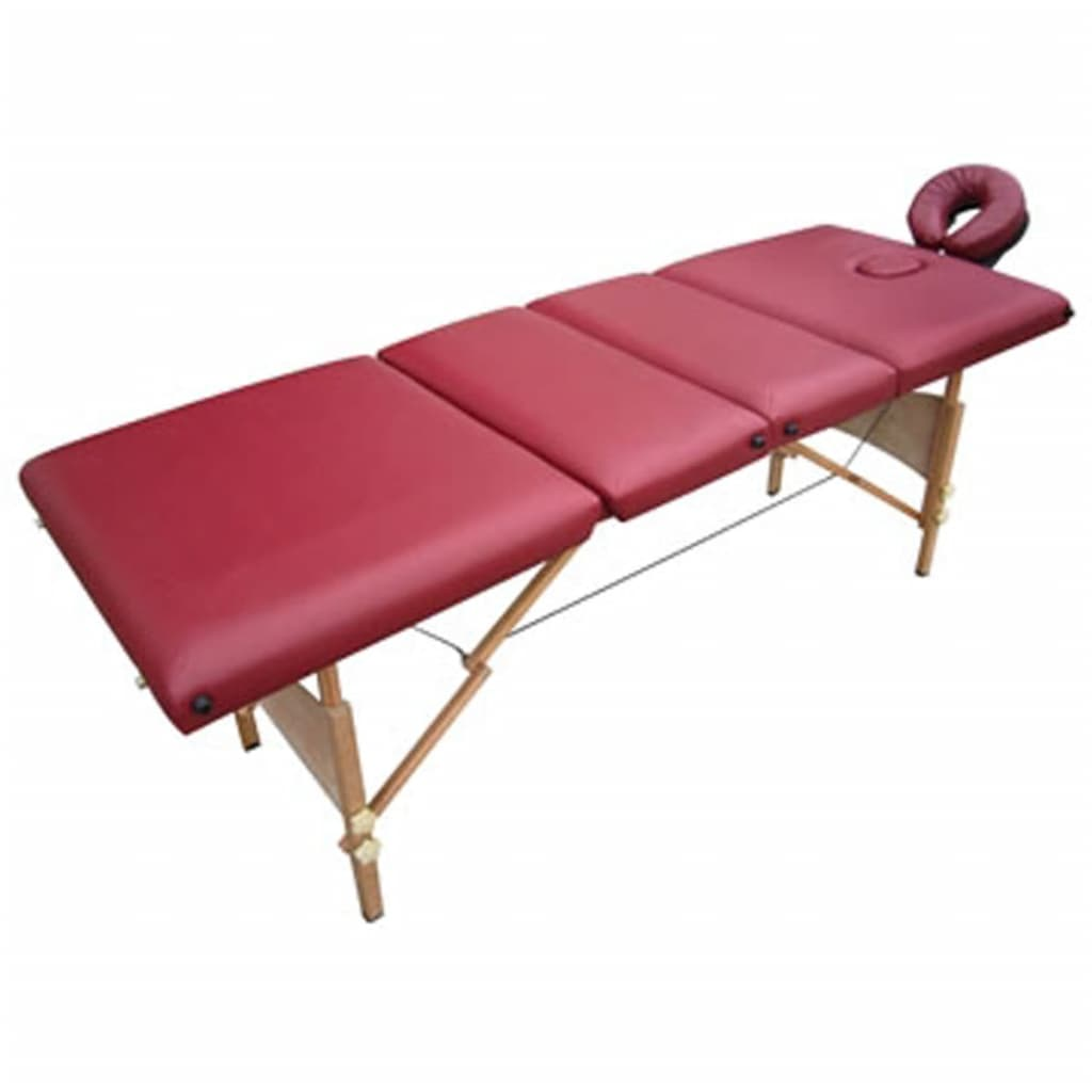 La boutique en ligne table de massage pliante bois 4 zones rouge - Table de massage pliante bois ...