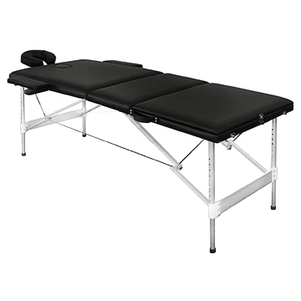 la boutique en ligne table de massage pliante avec 3 zones en alu noir. Black Bedroom Furniture Sets. Home Design Ideas