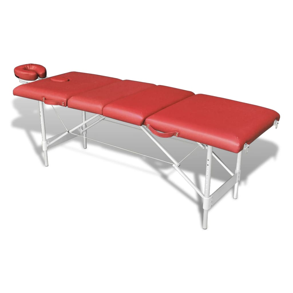 La boutique en ligne table de massage pliante avec 4 zones en alu rouge vid - Table de massage pliante en alu ...