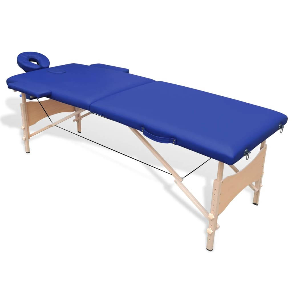 La boutique en ligne table de massage pliante en bois 2 zones bleu - Table de massage pliante bois ...
