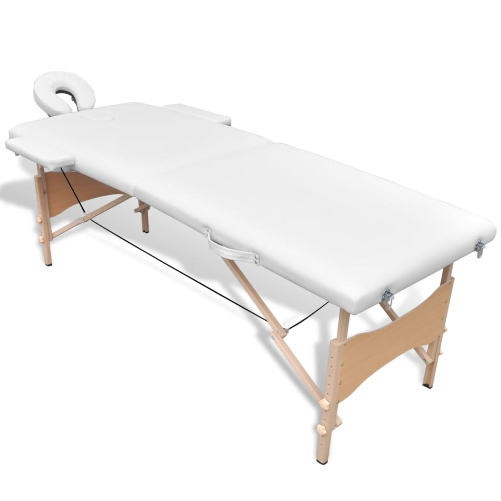 La boutique en ligne table de massage pliante en bois 2 zones blanc - Table de massage pliante bois ...