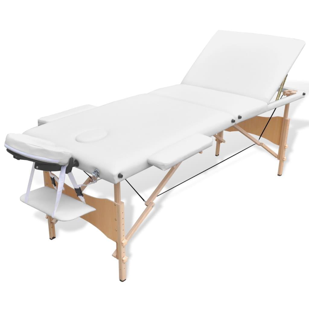 Acheter table de massage pliante en bois 3 zones blanc pas - Tables de massage pliante ...