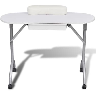 table manucure pliante avec roulettes blanc. Black Bedroom Furniture Sets. Home Design Ideas