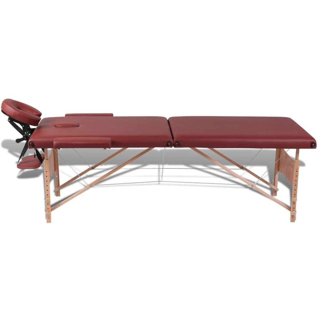 Acheter table de massage pliante 2 zones rouge cadre en bois pas cher - Ou acheter table de massage ...