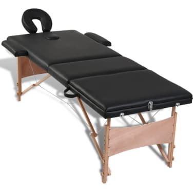 Svart vikbart massagebord med 3 zoner och träram[5/8]