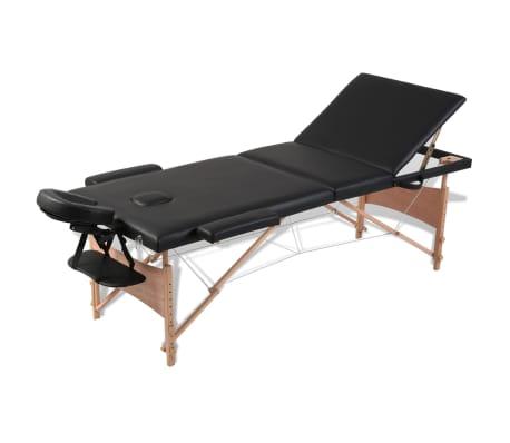 Svart vikbart massagebord med 3 zoner och träram