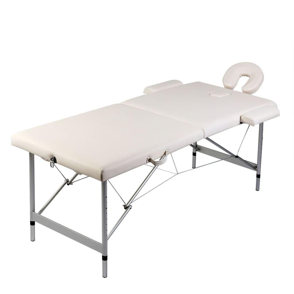 vidaXL Krém fehér Összecsukható masszázs asztal 2 részes Alumínium Keret