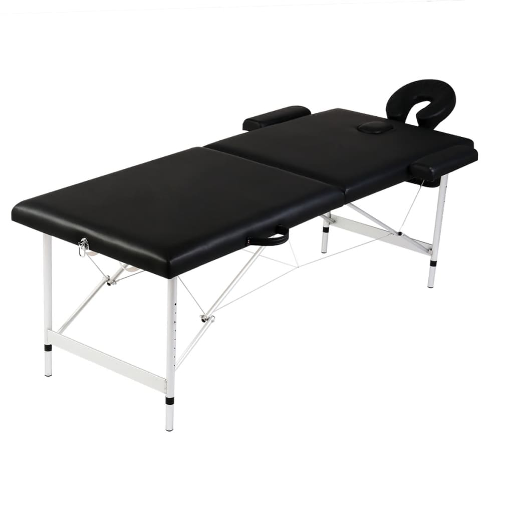 acheter table de massage pliante 2 zones noir cadre en aluminium pas cher. Black Bedroom Furniture Sets. Home Design Ideas
