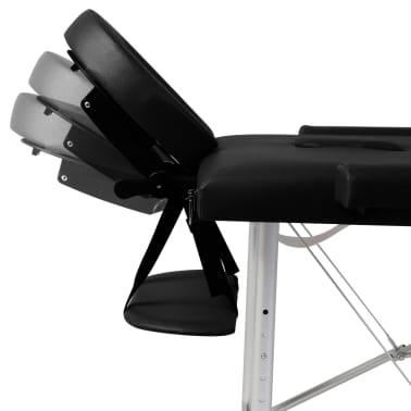 Sklopivi masažni stol s aluminijskim okvirom, 3 zone, crni[7/7]