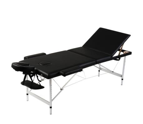 Sklopivi masažni stol s aluminijskim okvirom, 3 zone, crni