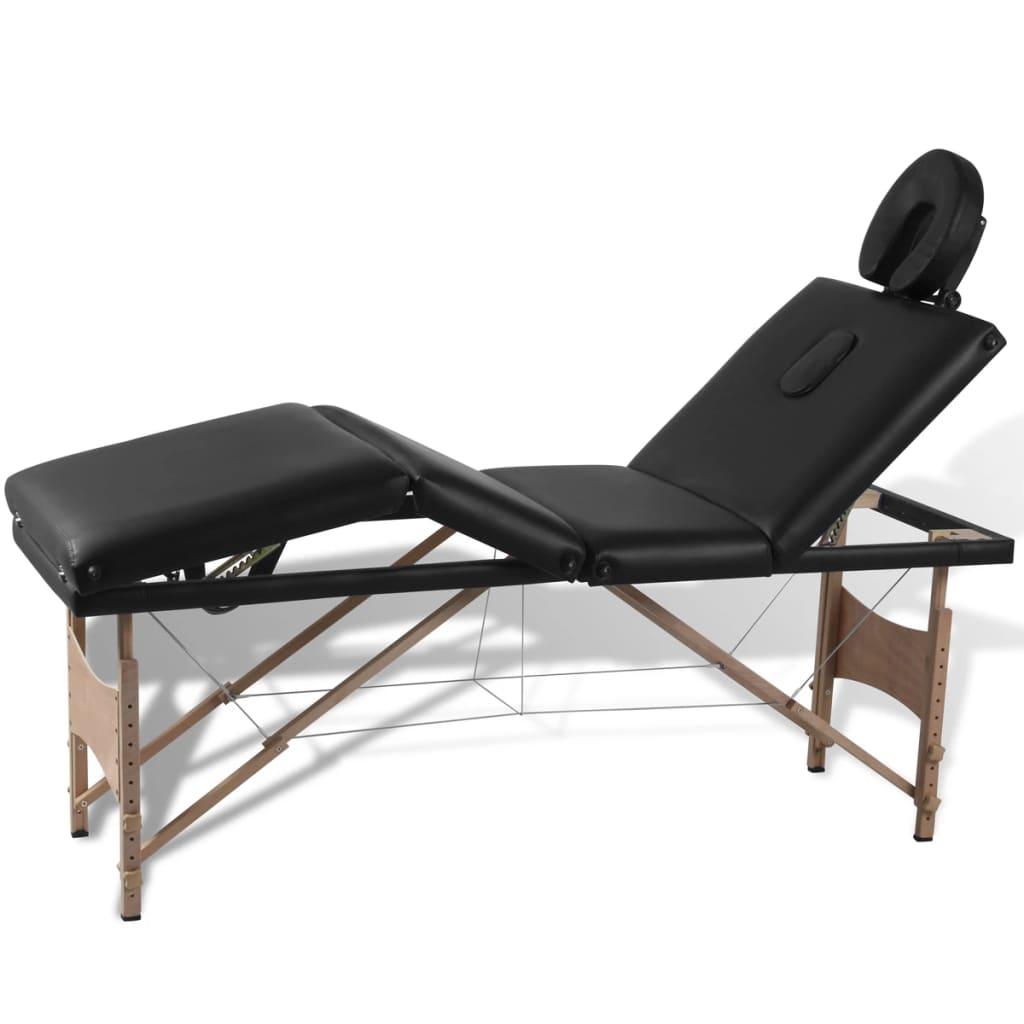 acheter table de massage pliante 4 zones noir cadre en bois pas cher. Black Bedroom Furniture Sets. Home Design Ideas