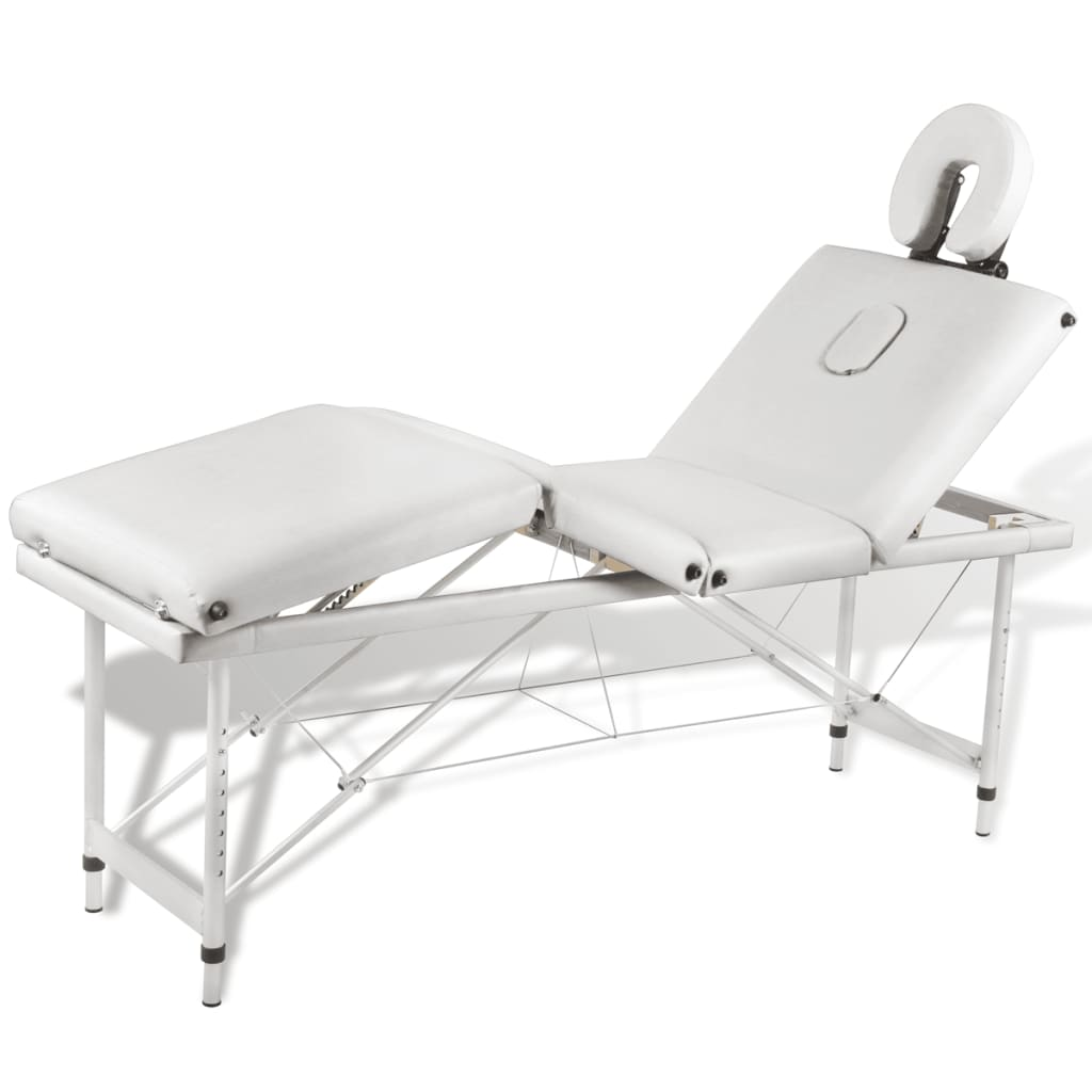 creme white foldable massage table 4 zones with aluminium frame. Black Bedroom Furniture Sets. Home Design Ideas