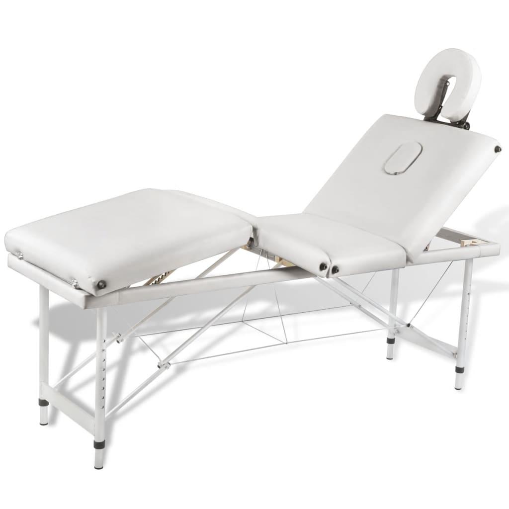Acheter Table De Massage Pliante 4 Zones Cr Me Cadre En Aluminium Pas Cher