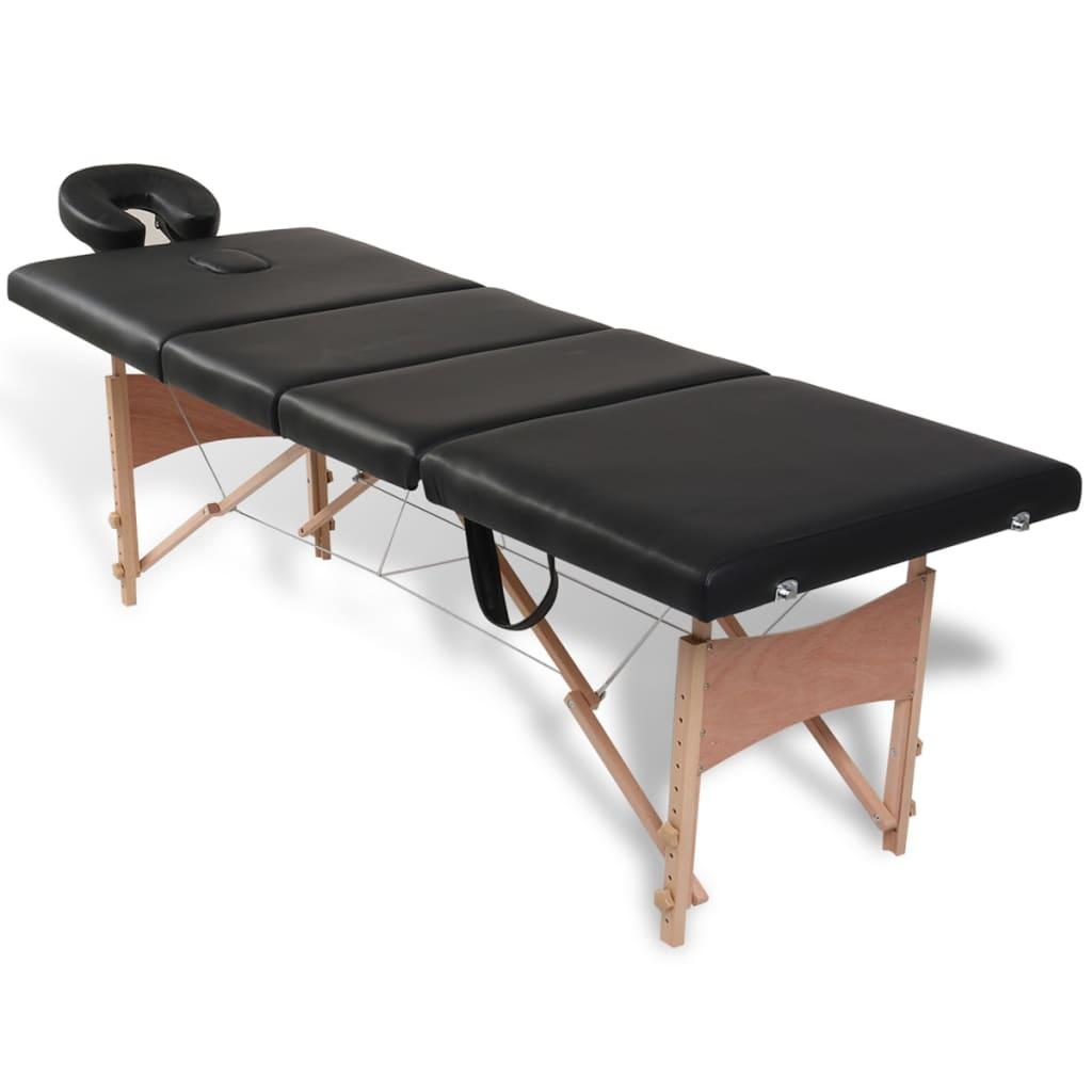 vidaXL Black Foldable Massage Table 4 Zones with Wooden F...