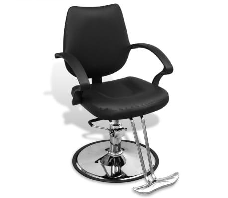 Profesionālais Frizētavas Krēsls ar Melnu Mākslīgās Ādas Apdari