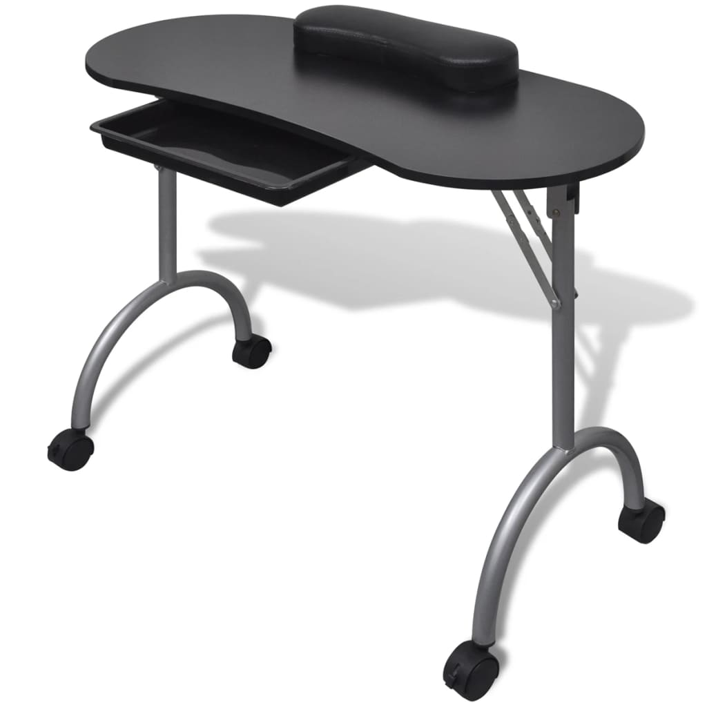Black/White Manicure Table Nail Desk Folding Portable Station Hand ...