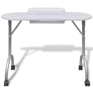 Składany stolik do manicure Biały z kółeczkami[2/5]