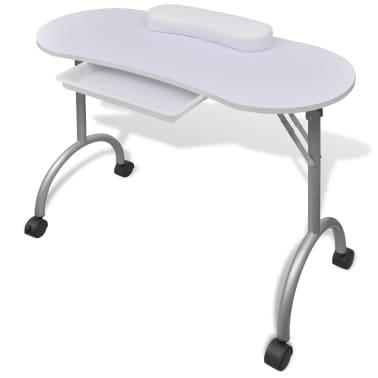 Składany stolik do manicure Biały z kółeczkami[1/5]