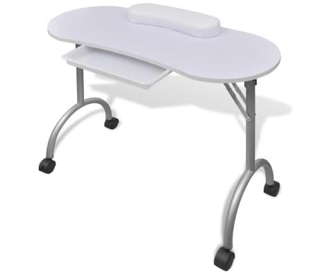 Składany stolik do manicure Biały z kółeczkami