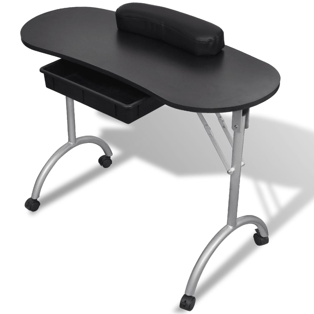 Black foldable manicure nail table with castors for Folding nail table