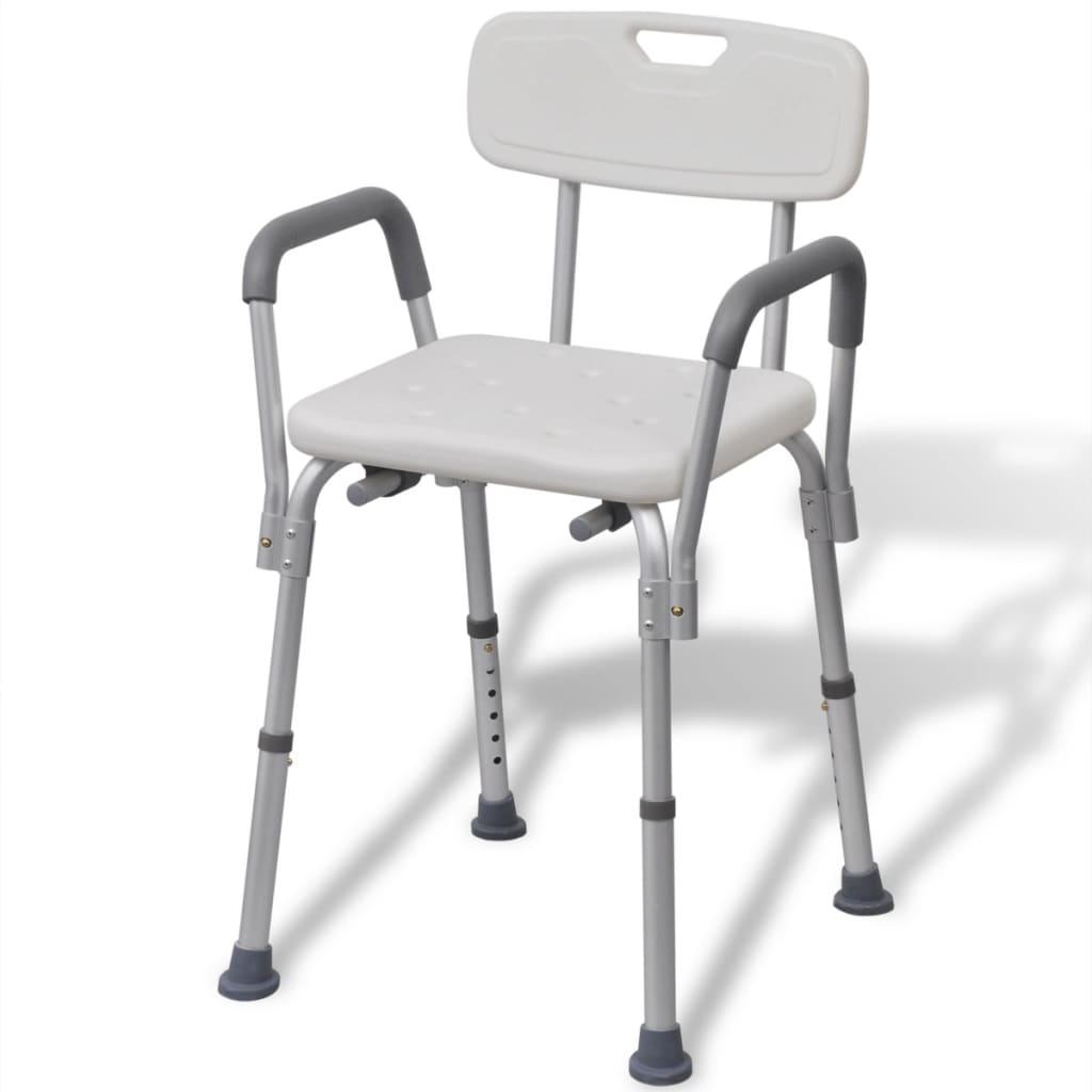 la boutique en ligne vidaxl chaise de douche aluminium blanc. Black Bedroom Furniture Sets. Home Design Ideas