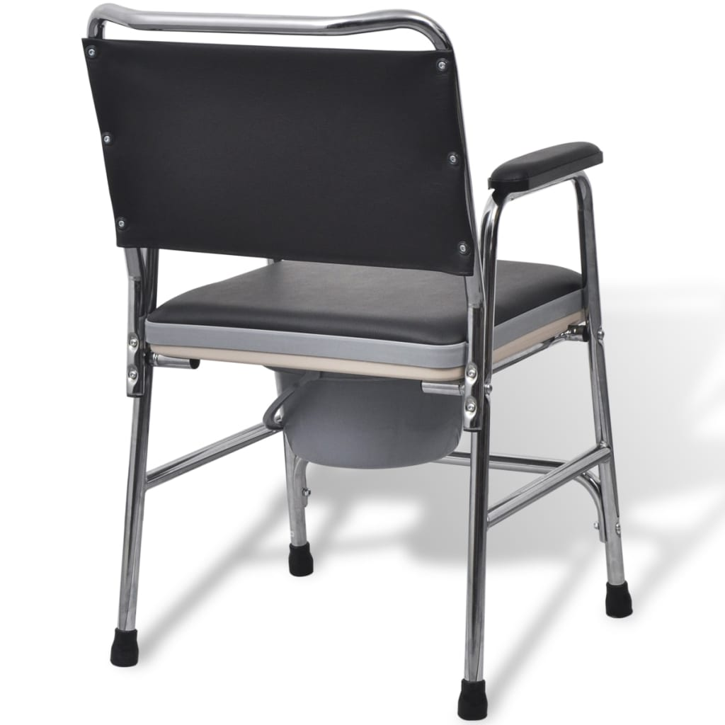 Commode Chair Steel Black Hygienic Disability Elderly