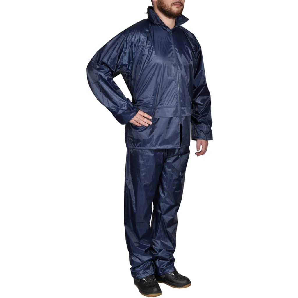 smen s Navy Blue 2-piece Rain Suit With Hood L Waterproof Jacket ... 2a9cf8f8a