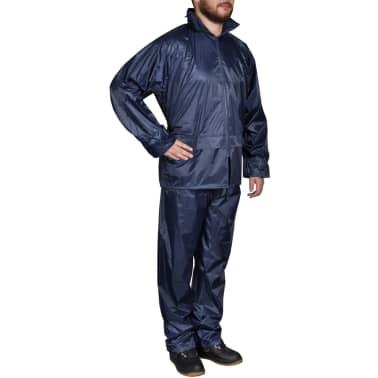 Blaue Regenbekleidung für Männer 2-teilig mit Kapuze Größe L[1/6]