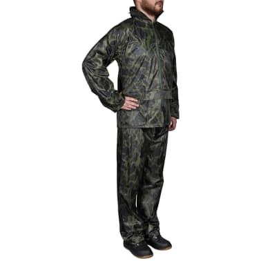 Tarnfarben Regenbekleidung für Männer 2-teilig mit Kapuze Größe M[1/6]