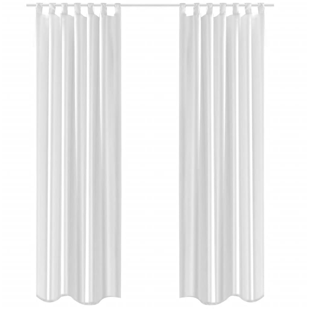 Vidaxl Co Uk White Taffeta Curtain 140 X 245 Cm 2 Pcs