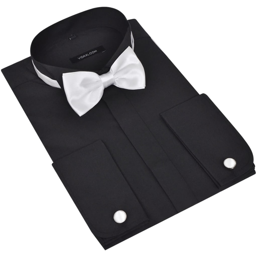 chemise homme avec bouton de manchette et n uds papillon blanc noir ebay. Black Bedroom Furniture Sets. Home Design Ideas