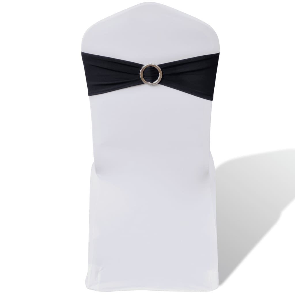 25 st svarta dekorativa stolsband med diamantspänne