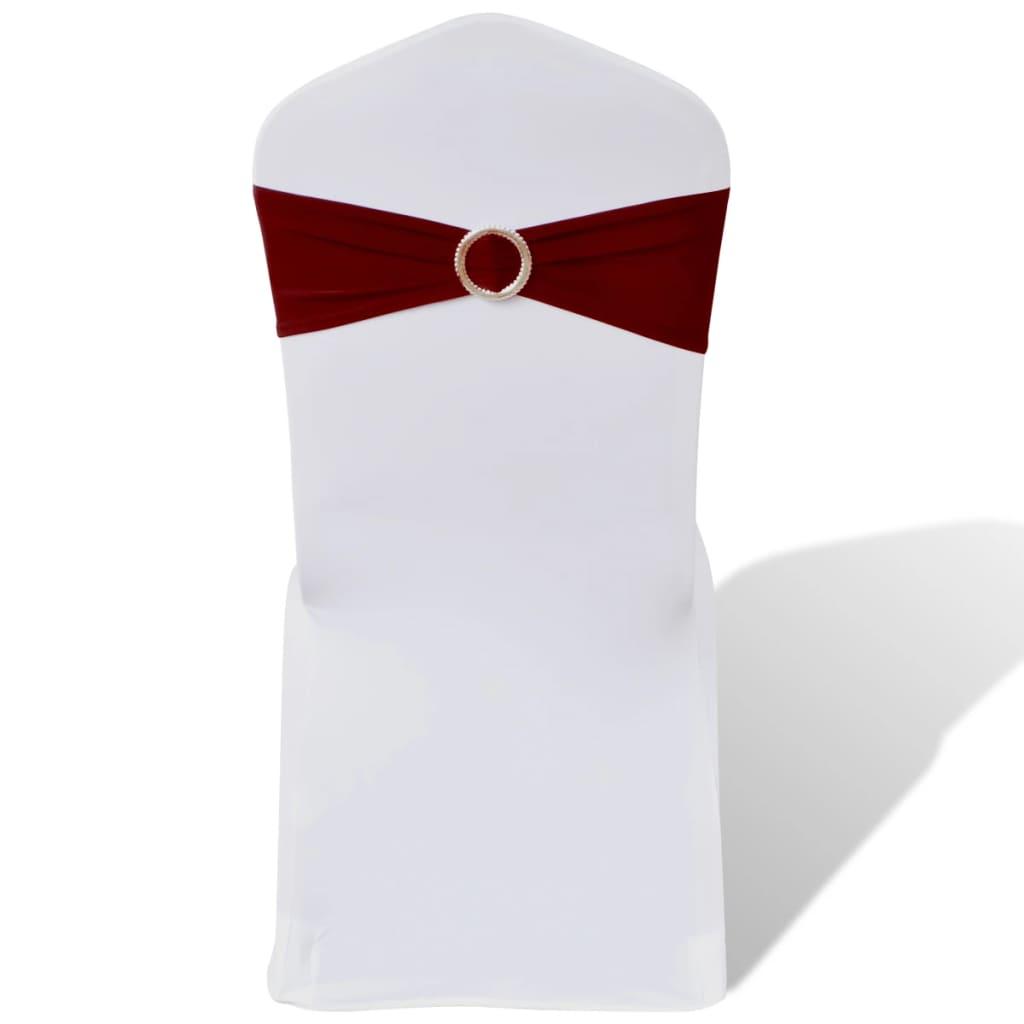 vidaXL 25 db nyújtható dekoratív szék pánt gyémántos csattal bordó piros