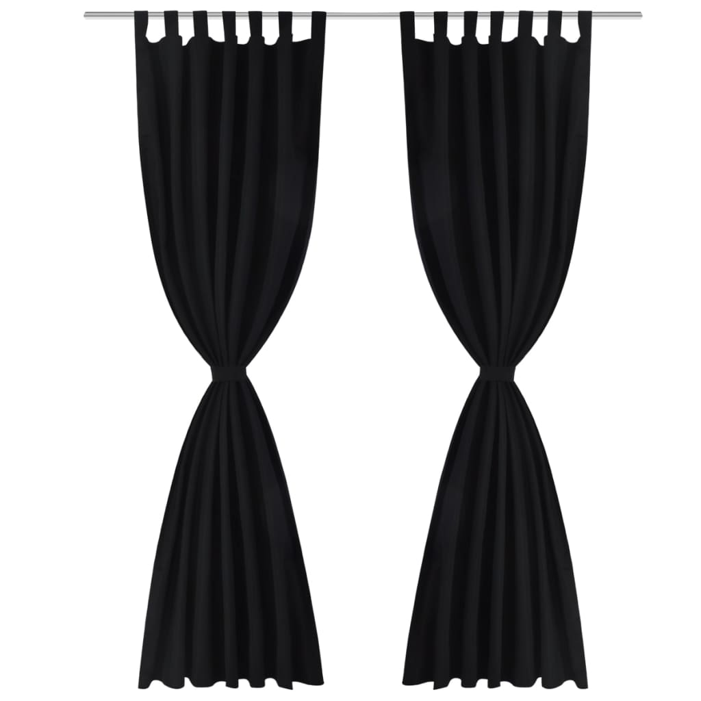 2 cortinas negras micro satinadas con trabillas 140 x 225 for Cortinas negras decoracion