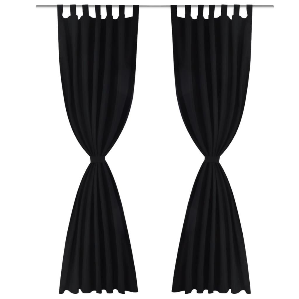 der vorh nge gardienen aus satin 2 teilig 140 x 245 cm schwarz online shop. Black Bedroom Furniture Sets. Home Design Ideas