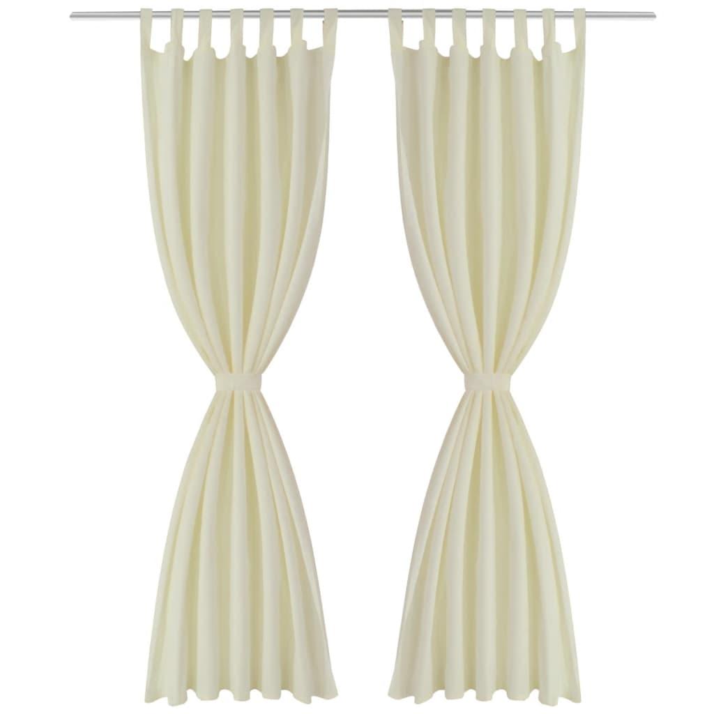 acheter 2 pcs rideau passant micro satin cr me 140 x 175 cm pas cher. Black Bedroom Furniture Sets. Home Design Ideas