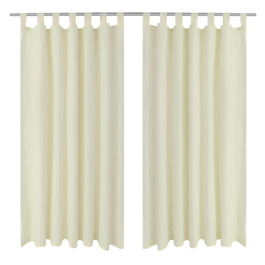 2 pcs rideau passant micro satin cr me 140 x 225 cm. Black Bedroom Furniture Sets. Home Design Ideas
