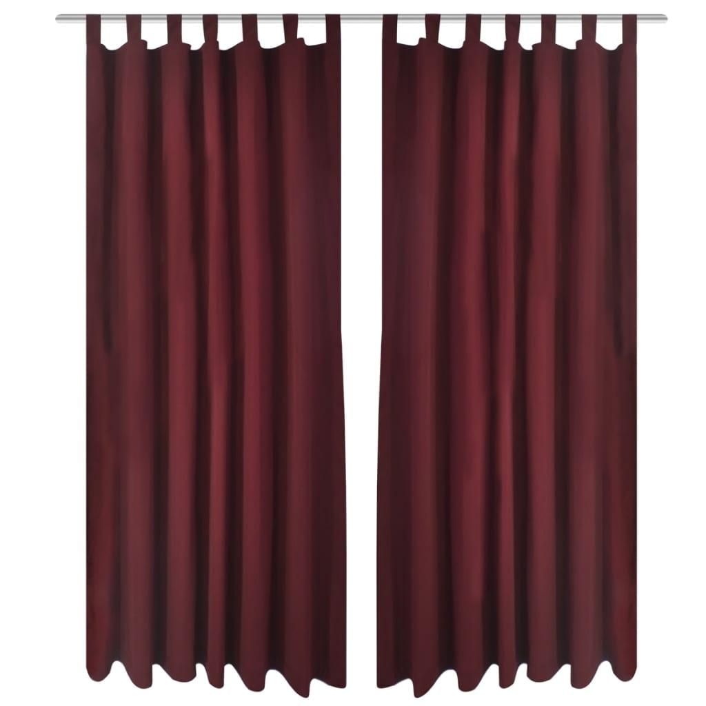 2-pack gardiner med öglor i vinröd microsatin 140 x 225 cm