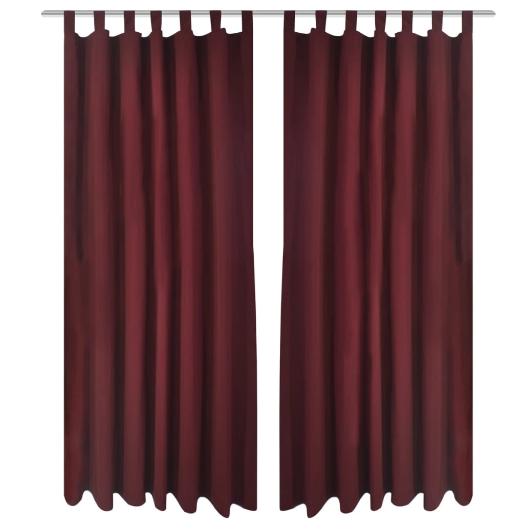 2 cortinas micro satinadas con trabillas color burdeos for Cortinas con trabillas