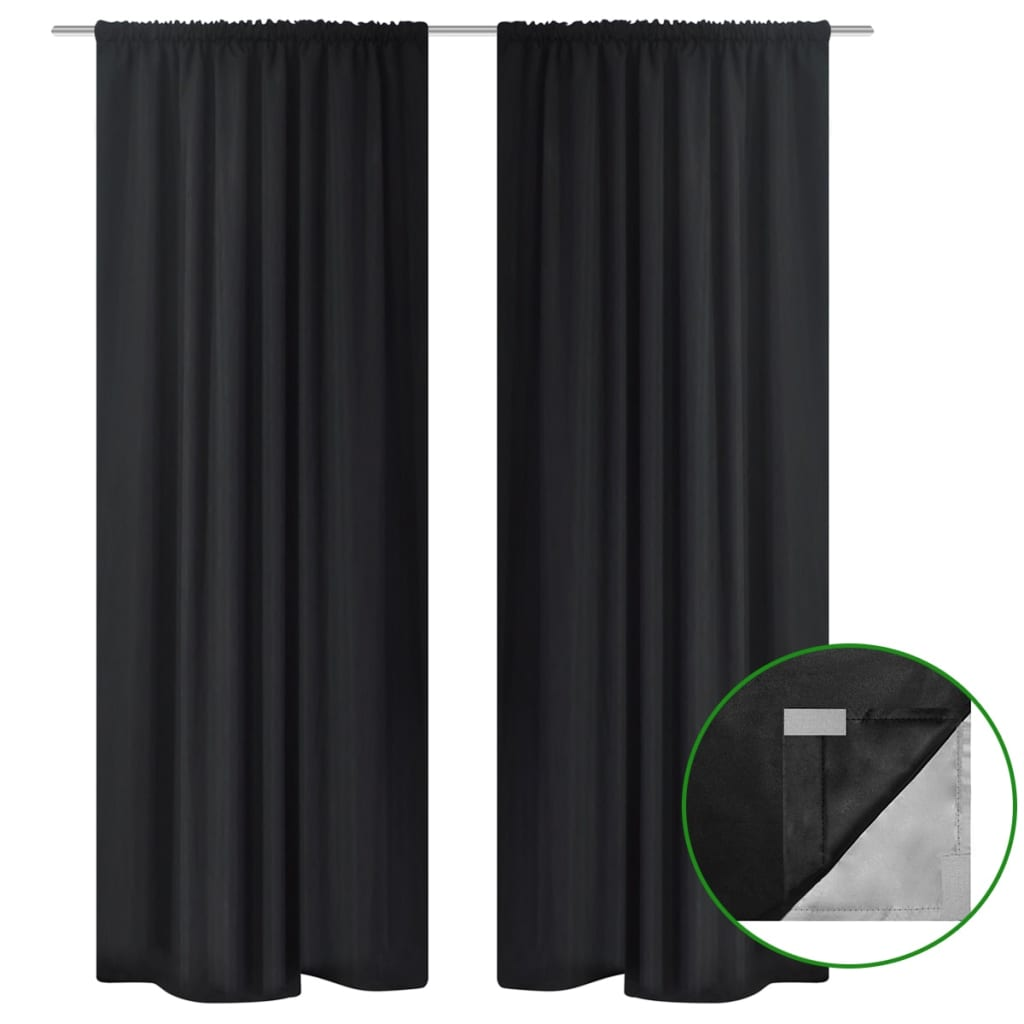 2xgardine verdunkelung vorhang doppellagig energiesparend 140x 245 cm blackout ebay. Black Bedroom Furniture Sets. Home Design Ideas