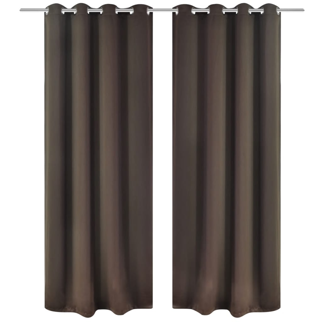 vidaXL 2 pcs Brown Blackout Curtains with Metal Rings 135 x 245 cm