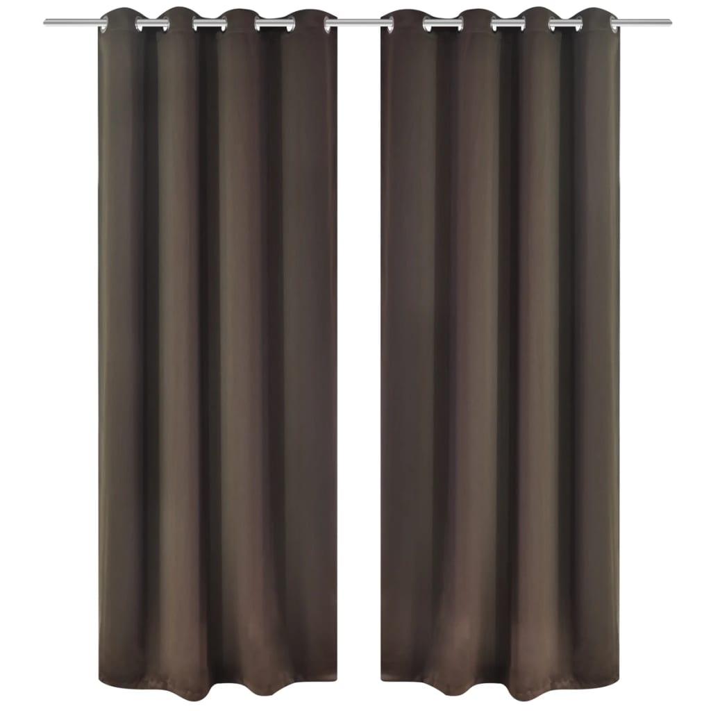acheter 2 pcs rideau blackout occultant brun avec illets en m tal 135x245cm pas cher. Black Bedroom Furniture Sets. Home Design Ideas