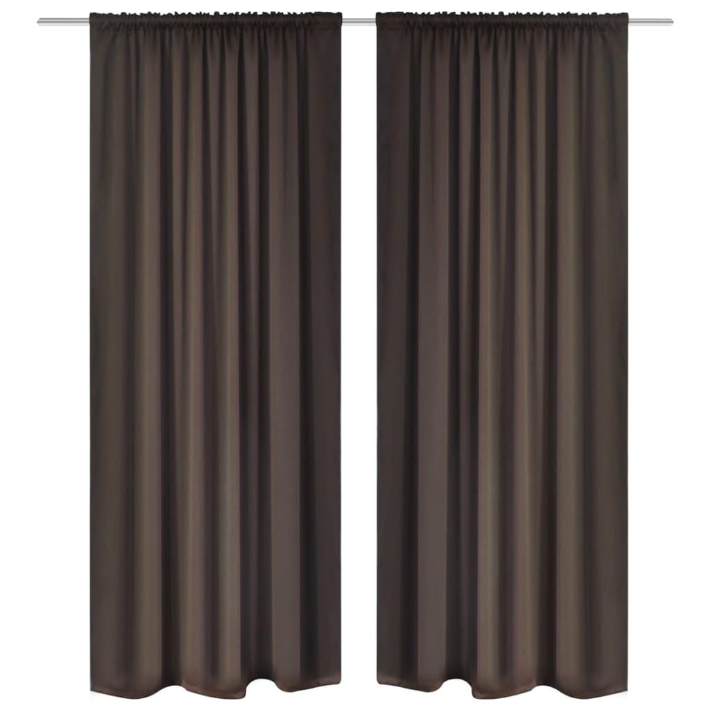 2 Pcs Brown Slot-Headed Blackout Curtains