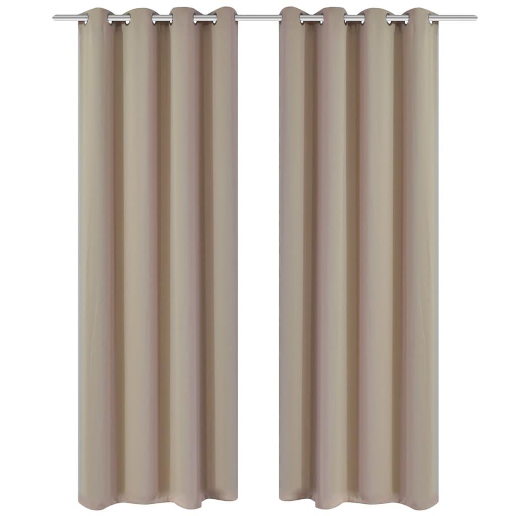Afbeelding van vidaXL Blackout Gordijnen met metalen ringen 135 x 245 cm 2 stuks (creme)