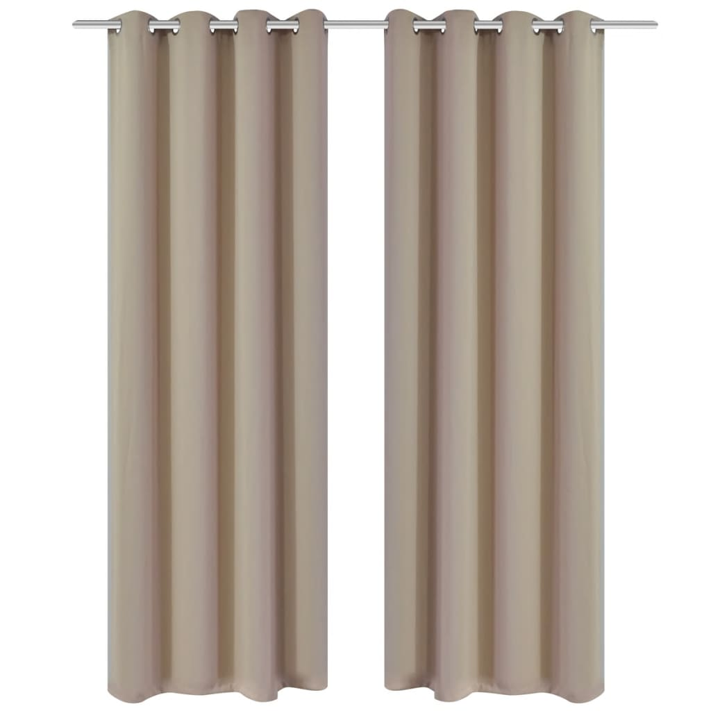 2 cortinas oscurecedoras con anillas blanco crema blackout - Cortinas con anillas ...