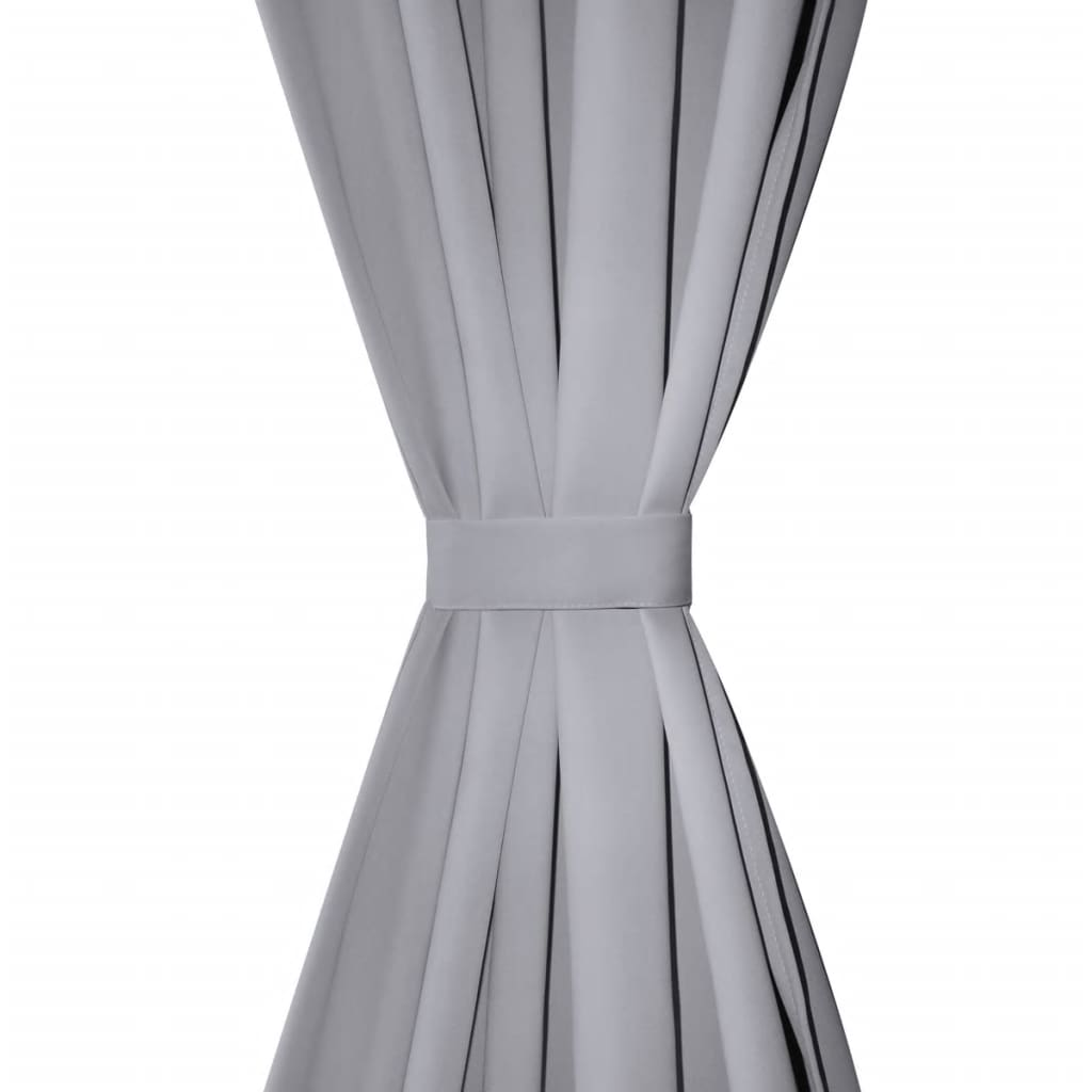 2 cortinas grises oscuras con anillas met licas blackout - Cortinas con anillas ...