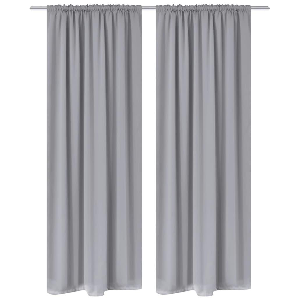2 cortinas grises oscuras con jaretas blackout 135 x 245 for Cortinas grises y blancas