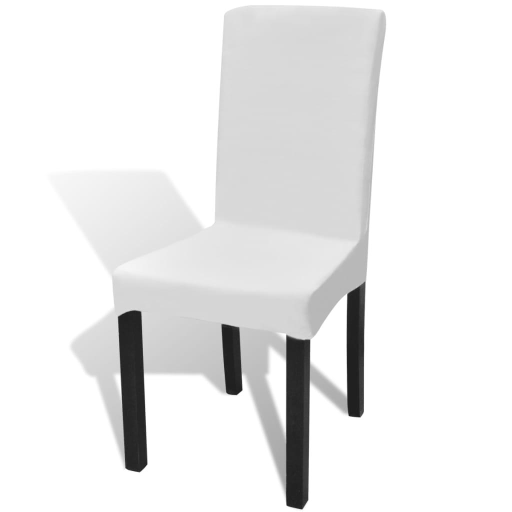 la boutique en ligne 6 housses de chaise dos droit extensibles blanches. Black Bedroom Furniture Sets. Home Design Ideas