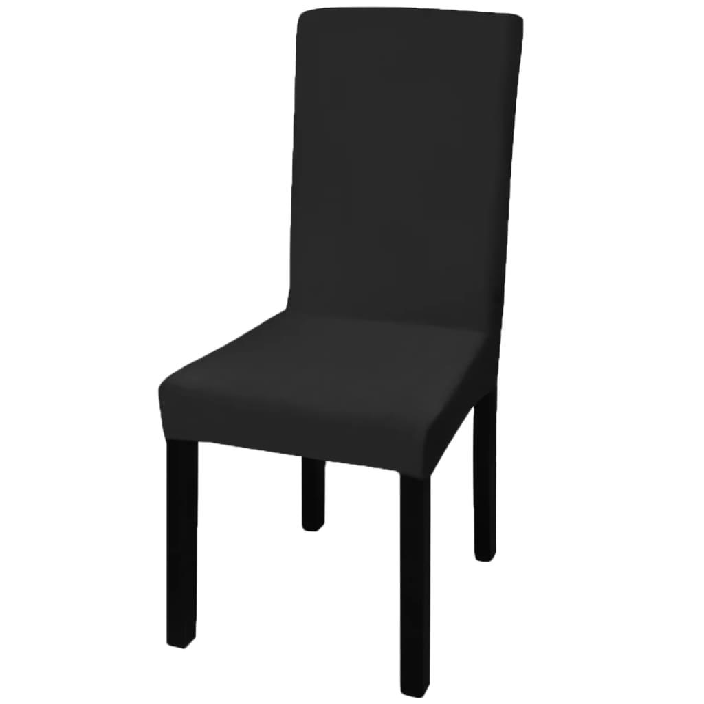 6 housses de chaise dos droit extensibles noires. Black Bedroom Furniture Sets. Home Design Ideas